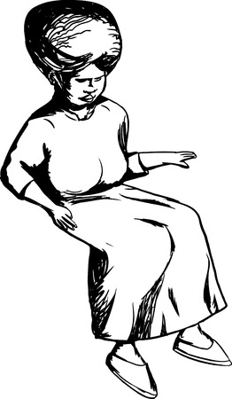 middle aged woman: Cartoon outline of African senior female sitting Illustration