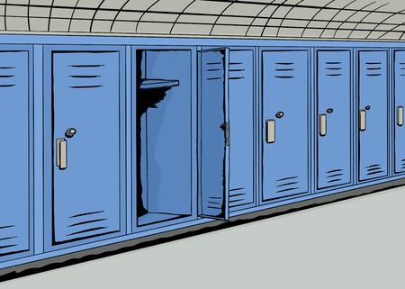 Illustratie van een open blauwe kastje in de hal