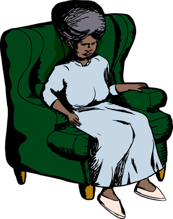 middle aged woman: Single elderly woman sitting in green sofa chair Illustration