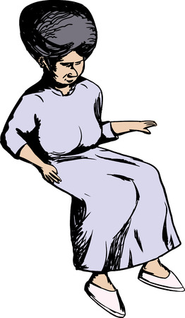 middle aged woman: Cartoon of single Caucasian woman in sitting position Illustration