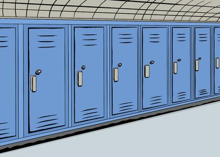 Illustratie van een rij van blauwe kluisjes in een hal