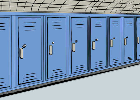 hallway: Illustration of a row of blue lockers in a hallway
