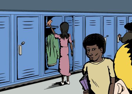 rear view: Various school children in corridor with lockers