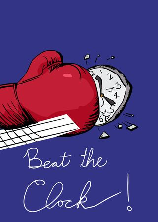 punched: Illustration of a boxing glove punching a clock over blue