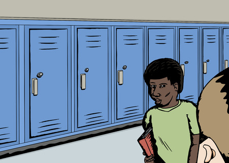 classmate: Cartoon of students in hallway with row of blue lockers Illustration