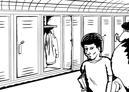 hallway: Outline of students walking and talking in hallway Illustration