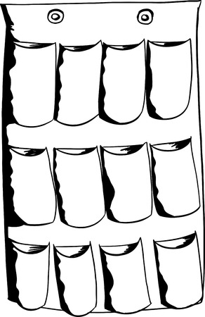 Outline of empty multiple shoe organizer over white Illustration