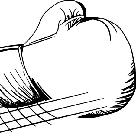 jab: Outlined cartoon single boxing glove in motion