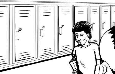 学生ロッカーのロー近く話しているの概要図  イラスト・ベクター素材