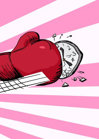 aggravated: Illustration of boxing glove hitting a clock over pink