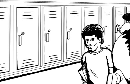 classmate: Outline of group of students in school hall talking