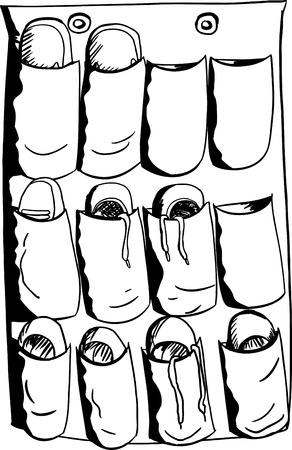 sandals isolated: Outline illustration of shoes and slippers in organizer