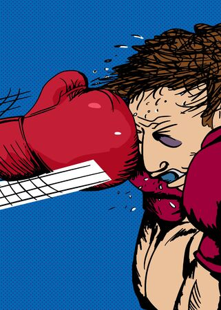 bruised: Action illustration of bruised boxer hit with glove