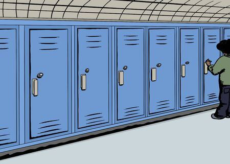 hallway: Cartoon of student opening locker in hallway