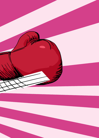 jab: Close up of cartoon boxing glove in motion over pink background