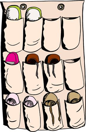 Cartoon illustration of shoes and slippers in organizer