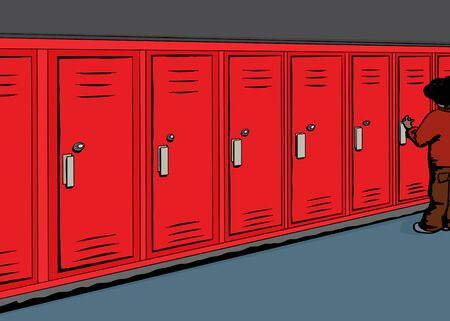 hallway: Cartoon of student opening red locker in hallway
