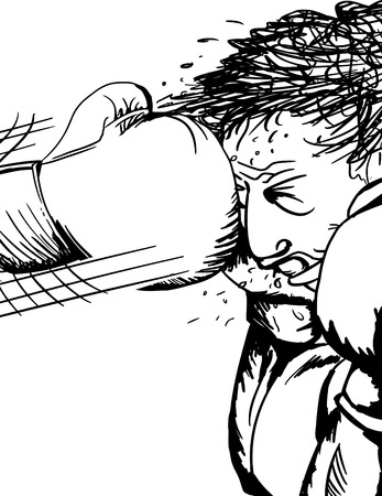 Close up illustration of single boxer hit with glove