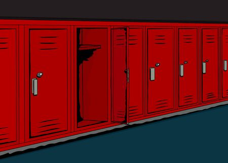 hallway: Background illustration of dark school hallway with open locker