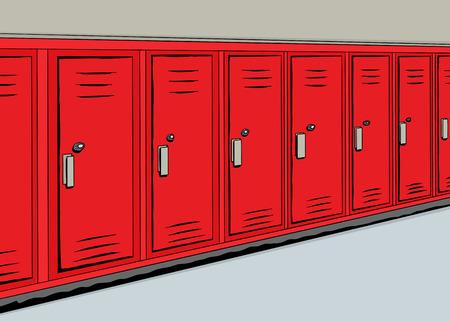 Afbeelding van een rij van rode kluisjes in een hal