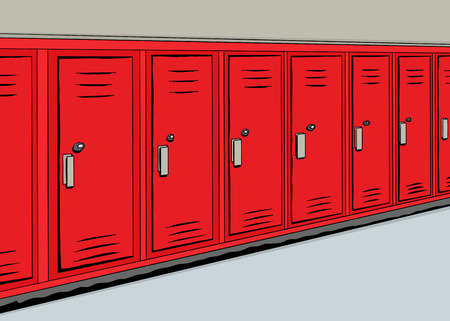 hallway: Illustration of a row of red lockers in a hallway