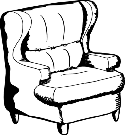 outlined isolated: Outlined single cartoon chair over isolated background