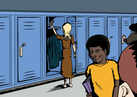 classmate: Mixed group of students in school corridor Illustration