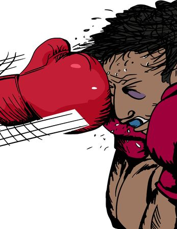 bruised: Injured boxer hit in head with glove cartoon
