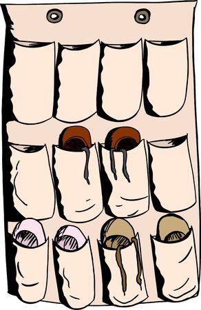 Cartoon of pocket organizer for shoes on isolated background Illustration