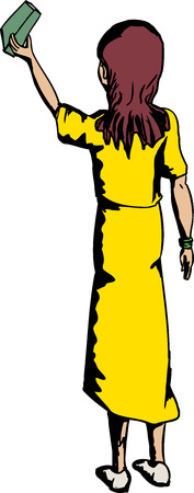 reach out: Cartoon of woman in yellow taking out a book