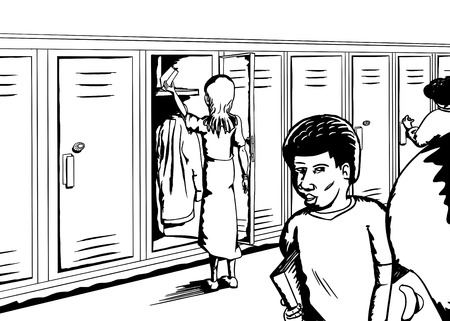 diverse group: Diverse group of children in hallway with lockers