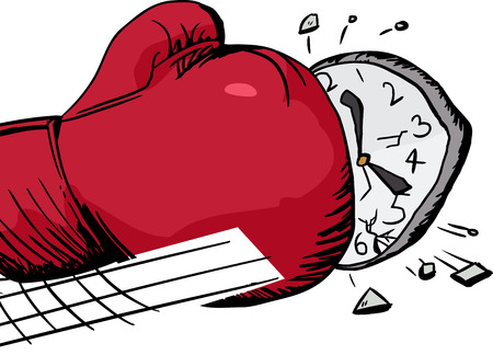 aggravated: Isolated over white cartoon of boxing glove smashing clock