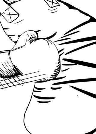 Outline illustration of boxing glove hitting a bag