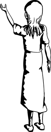 rear view: Outline cartoon of young female lifting something up Illustration