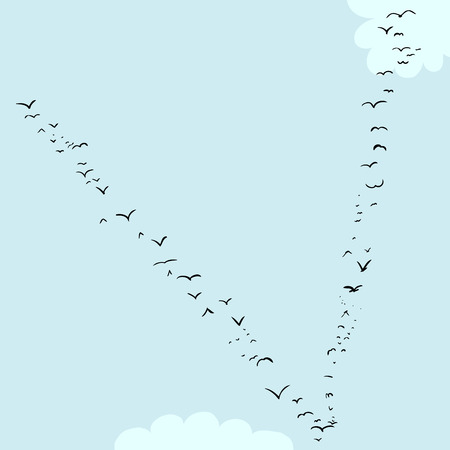 Illustration of a flock of birds in the shape of the letter v Çizim