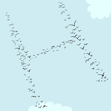 Illustration of a flock of birds in the shape of the letter h Çizim