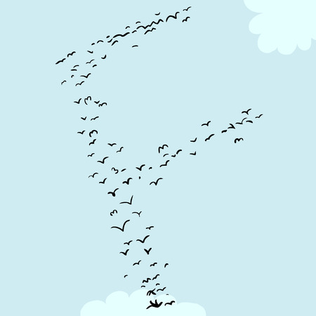Illustration of a flock of birds in the shape of the letter f