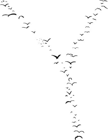 mid air: Illustration of a flock of birds in the shape of the letter Y