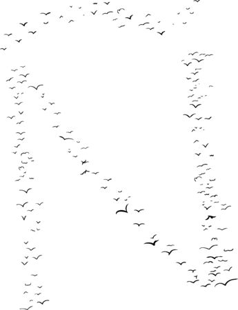 Illustration of a flock of birds in the shape of the letter n with tilde Ilustração