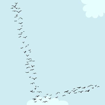 Illustration of a flock of birds in the shape of the letter l
