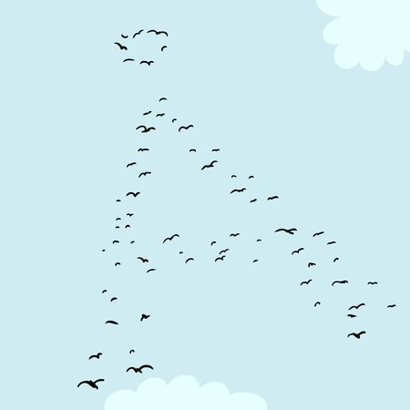 mid air: Illustration of a flock of birds in the shape of the ringed a letter Illustration