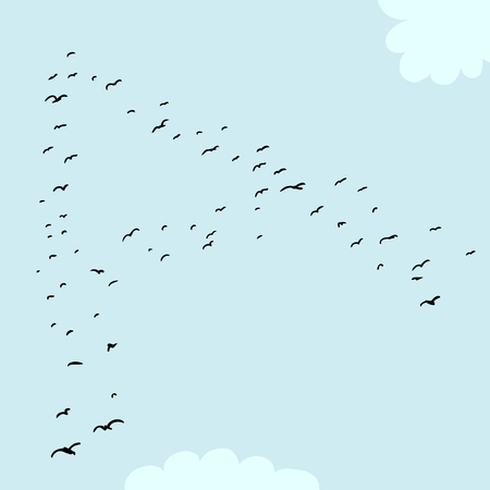 mid air: Illustration of a flock of birds in the shape of the letter a Illustration