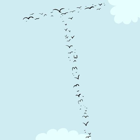 mid air: Illustration of a flock of birds in the shape of the letter t