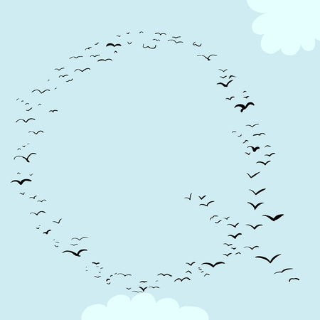 mid air: Illustration of a flock of birds in the shape of the letter q