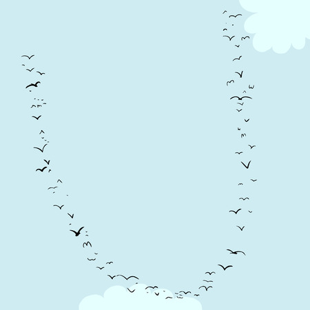mid air: Illustration of a flock of birds in the shape of the letter u