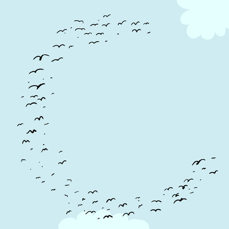 Illustration of a flock of birds in the shape of the letter c
