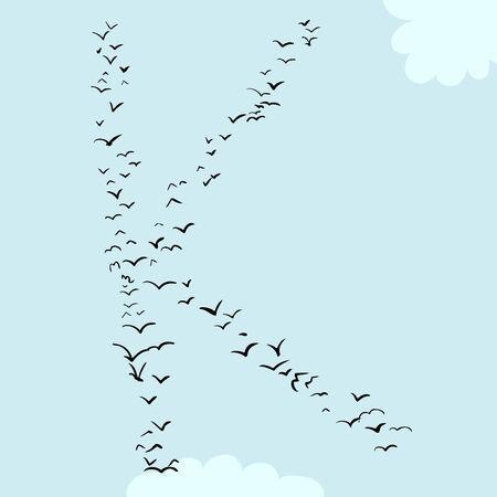 flock: Illustration of a flock of birds in the shape of the letter k Illustration