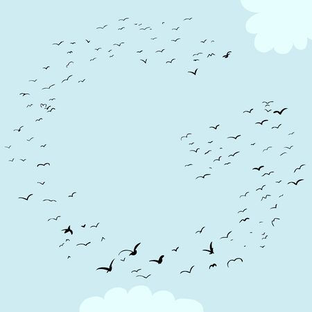 Illustration of a flock of birds in the shape of the letter g
