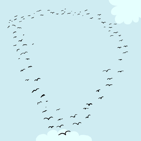 mid air: Illustration of a flock of birds in the shape of the letter d
