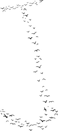 mid air: Illustration of a flock of birds in the shape of the letter j
